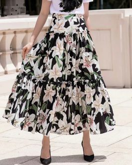 Casual lily Flower Printed A-line Midi Skirts
