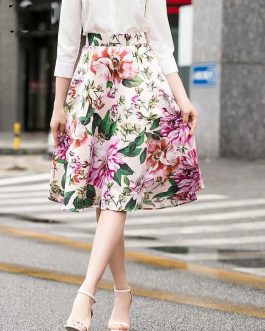 Charming Flower Print High Waist Mid-Calf Skirt