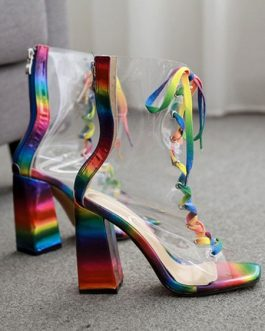 Clear Boots Lace Up Peep Toe Rainbow Flared Heel Perspex Booties