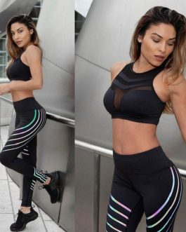 Colored Striped High Waist Skinny Yoga Leggings