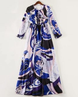 Colorful Pattern Print Long Sleeve Robe Long Maxi Dress