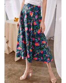 Cotton Flower Print Fashion High Waist Long Skirt