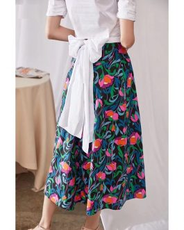 Cotton Flower Print Fashion High Waist Long Skirt