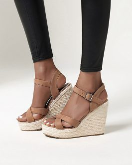 Cross Strap Wedges High Heel Sandals
