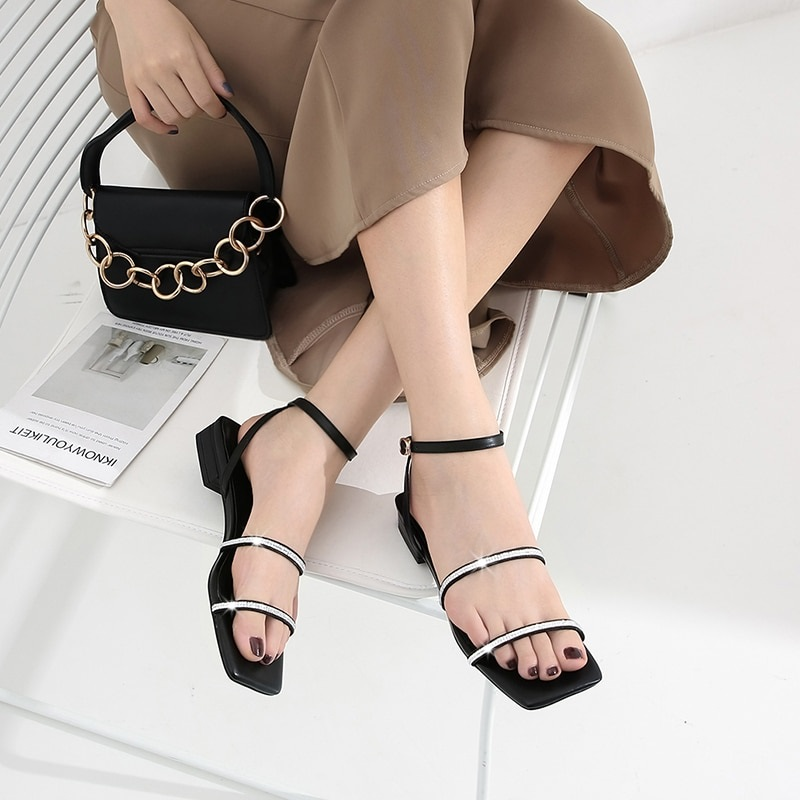 Crystal Low Heels Buckle Ankle Strap Casual Shoes 7.2