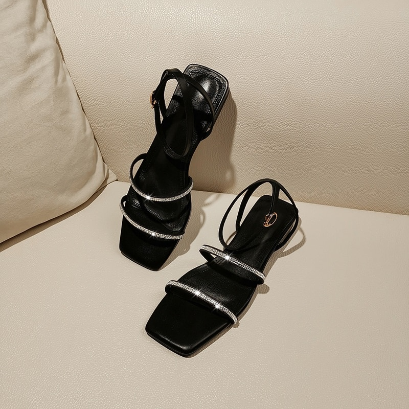 Crystal Low Heels Buckle Ankle Strap Casual Shoes 7.4