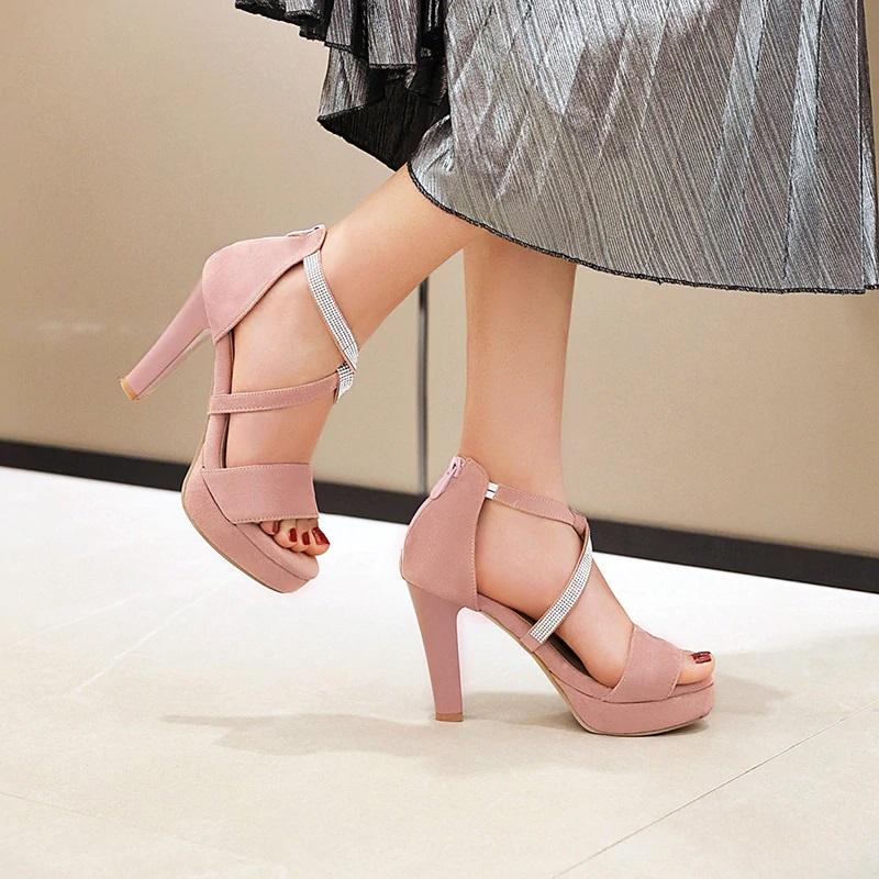 Crystal Strips High Heels Sandals 10.1