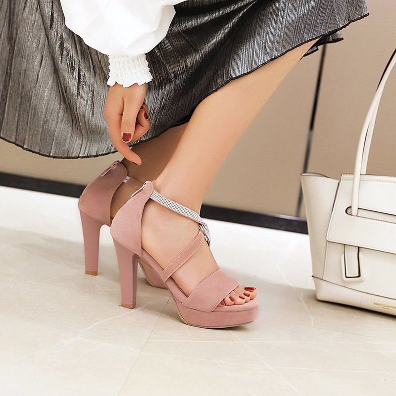 Crystal Strips High Heels Sandals 10.2