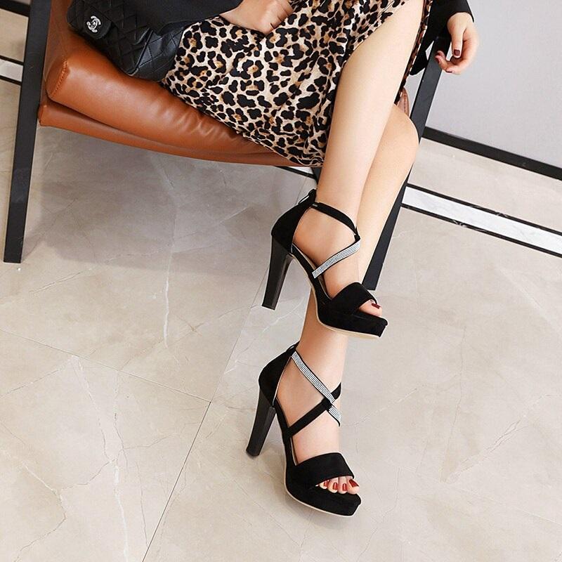 Crystal Strips High Heels Sandals 10.3