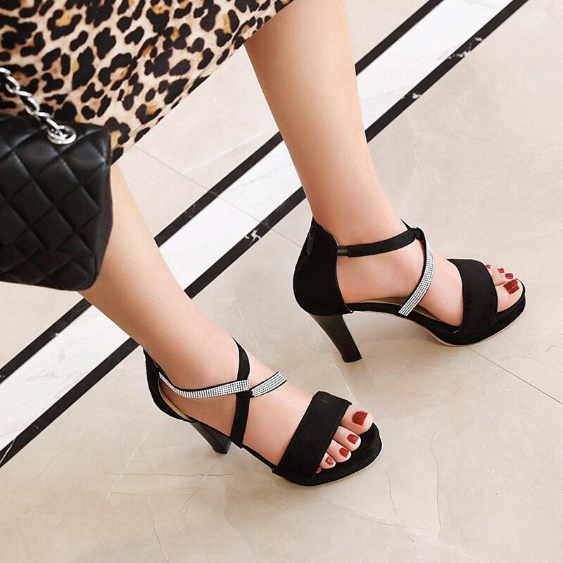 Crystal Strips High Heels Sandals 10.4