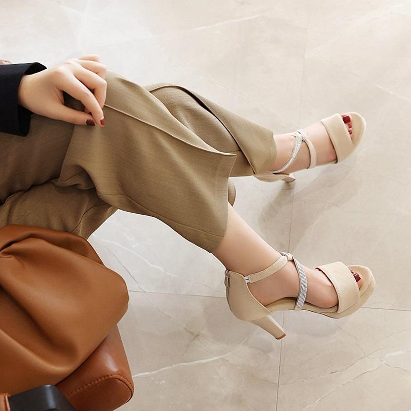 Crystal Strips High Heels Sandals 10.5