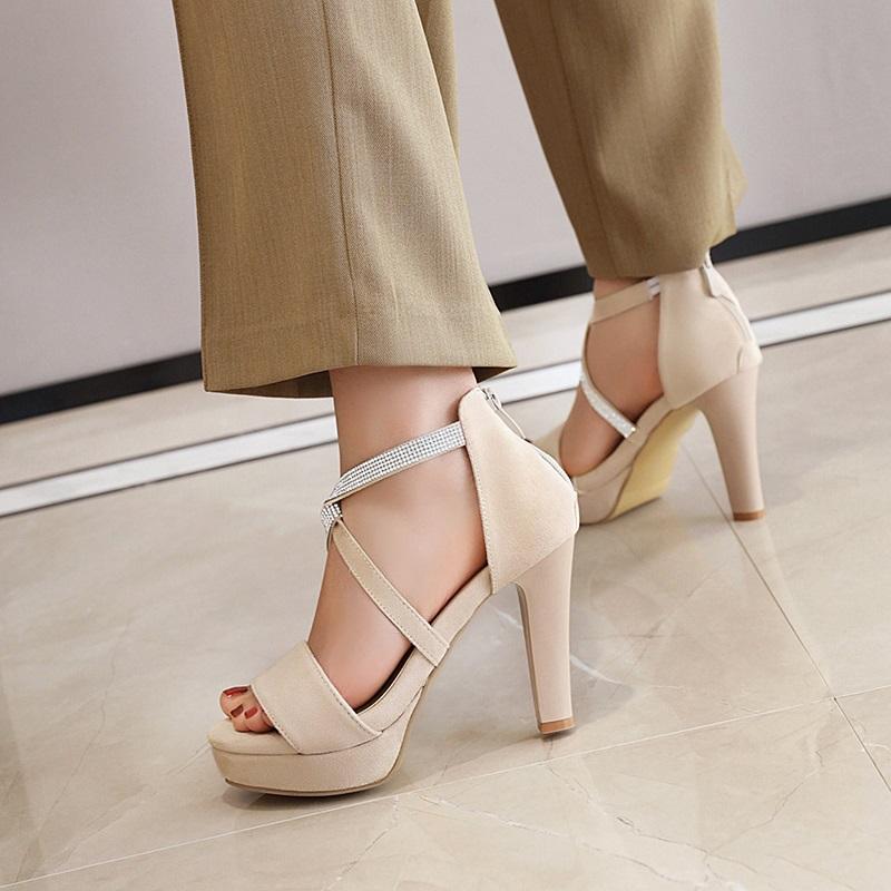 Crystal Strips High Heels Sandals 10.6