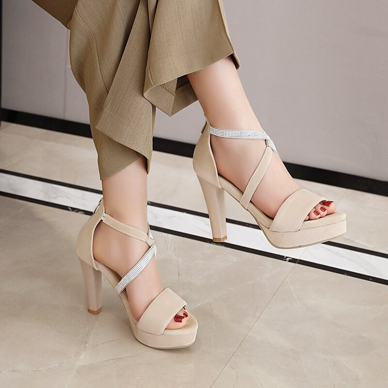 Crystal Strips High Heels Sandals 10.7