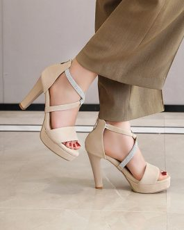 Crystal Strips High Heels Sandals