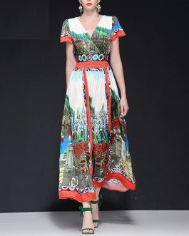 Designer Painting Print Sexy V Neck Party Maxi Dresses