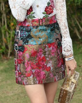 Elegant Crystal Diamonds Print A Line Mini Skirt