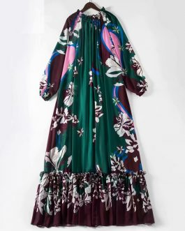Elegant Flower Print Ruffles Party Maxi Dress
