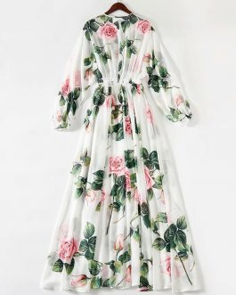 Elegant Rose Flower Print Bohemian Maxi Dress