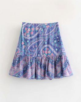 Elegant floral peacock printed beach boho style skirt