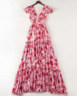 Elegant lily Flower Print Tiered Ruffles Maxi Dresses