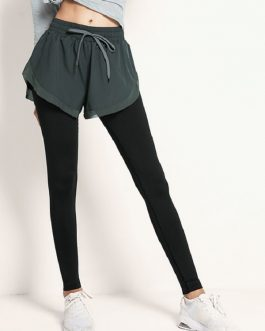 Fake Two-Piece Drawstring Yoga Pants
