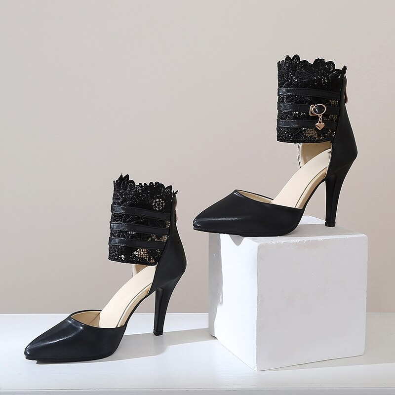 Fashion Ankle Wrap Lace High Heels Sandals 9.6