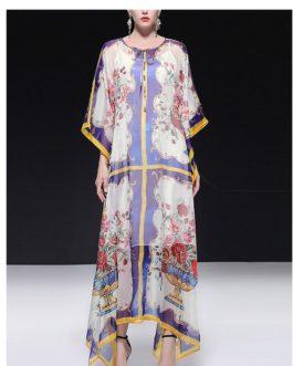 Fashion Batwing Sleeve Vase Print Holiday Maxi Dresses