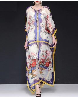 Fashion Batwing Sleeve Vase Print Loose Robe Maxi Dresses