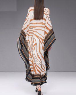 Fashion Designer Ripple Print V Neck Loose Maxi Dresses