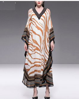 Fashion Designer Ripple Print V Neck Loose Maxi Dresses