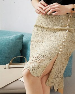 Fashion Designer Sexy Hollow Out Embroidery Split Skirt