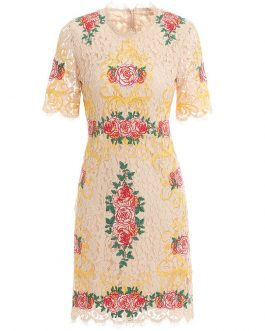 Fashion Runway O-Neck Flower Embroidery Lace Elegant Dress