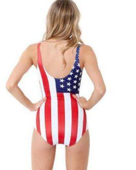 Flag Print Sleeveless One Piece Swimsuit