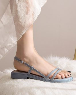 Flat Rubber Sole Sewing Strappy Sandals