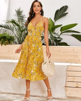 Floral Pleated High Waist Boho Wrap Long Dresses