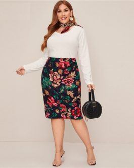 Floral Print Elegant Midi Skirt