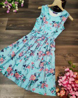 Floral Print Round Neck Mini dress