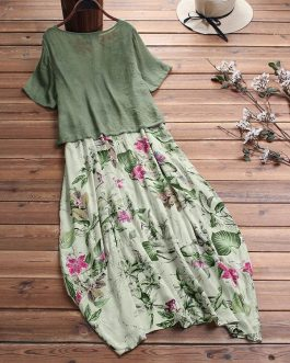 Floral Print Two Pieces Short Sleeve Dress