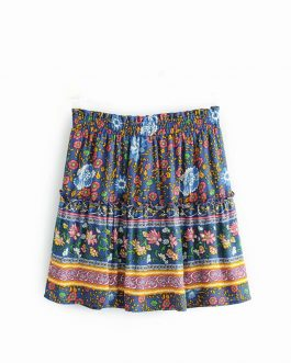 Floral Printed Rayon Short Oversize Skirt