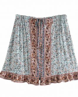 Floral stitching boho style peacock printed short skirt