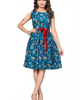 Formal Evening O-Neck Floral Pattern Party Mini Dress