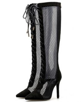 High Heel Boots Pointed Toe Cut Out Lace Up Zipper Detail Sandal Boots