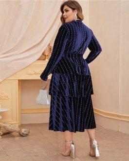 High Waist Glamorous Elegant Velvet A-line Dress