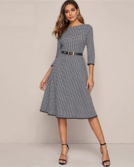 Houndstooth Without Belt A Line Midi Dresses