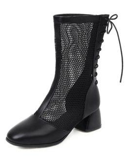 Mesh Boots Block Heel Square Toe Boots