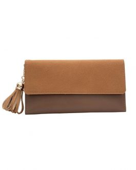 Multi-function Tassel Clutch Splicing Fashion Money Purse