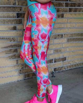 Multicolored Print High Waist Sports Leggings
