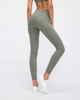 Naked-feel Fabric Plain Athletic Sport Fitness Leggings