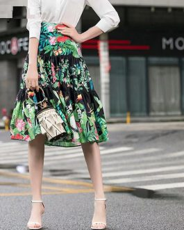 Parrot Print High Waist Casual Midi Skirt