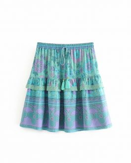 Ruffles rayon cotton mini boho skirt
